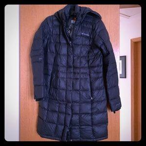COLUMBIA long down black Omniheat coat; Medium